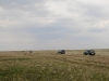 A group of persistant researches is moving ahead (steppes in the south of Samara region)